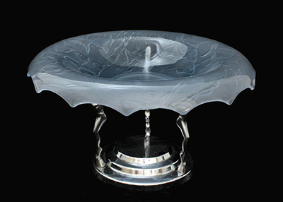 Walther Glass Fische Bowl & Metal Stand