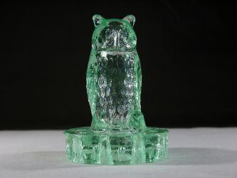 Art Deco Glass Owl Flower Frog - Unknown Maker
