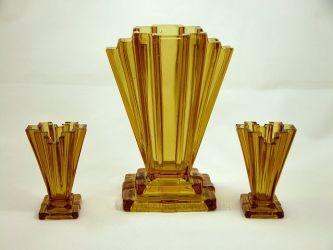 Bagley Glass Grantham Vases (2)