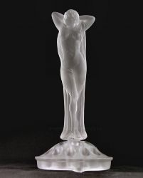 Brockwitz Glass Nude Lady, flower block and Thistle Bowl (2)