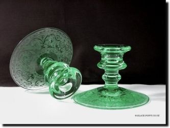 Cambridge Glass 2 Kid Flower Frog, Etched Bowl & Matching Candle holders (2)