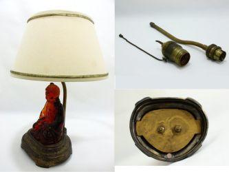Cambridge Glass Buddha in Amber & Lamp Base late 1920s - 4