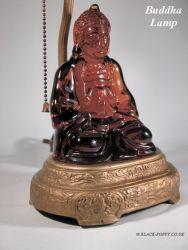Cambridge Glass Buddha in Amber & Lamp Base late 1920s