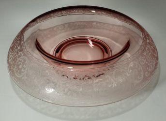 Cambridge Glass  Peach Blo (Dianthus) No. 725 Etch Bowl