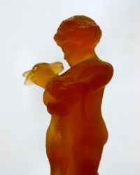 Cambridge Glass Two-Kid Flower Holder 9.25 inches high Amber (2)