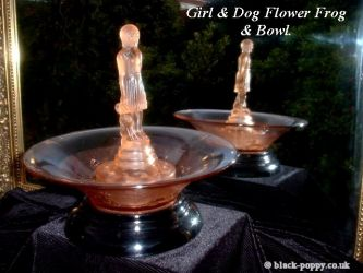 Girl with Dog Centrepiece & Matching Float Bowl - Unknown Maker (1)