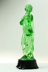 Green Polished Art Deco Glass Lady - Unknown Maker (1)