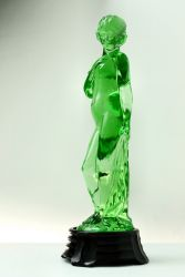 Green Polished Art Deco Glass Lady - Unknown Maker (2)