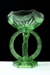Green Pressed Glass Rose Encircled Lady  Comport - Unknown Maker (1)