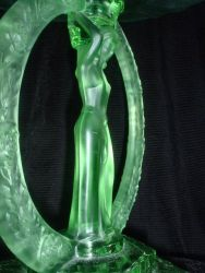 Green Pressed Glass Rose Encircled Lady  Comport - Unknown Maker (2)