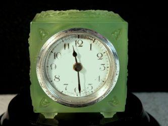 Heinrich Hoffmann, Gablonz, Bohemia - Uranium Glass Bedroom Clock