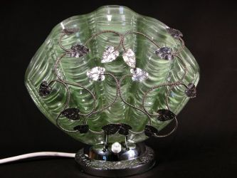 Metal Lamp with Glass Shell Shape Shade - Unknown Maker (1)
