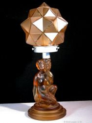 Pressed Art Deco Glass Kneeling Lady Lamp - Unknown Maker (1)