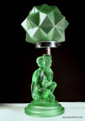 Pressed Art Deco Glass Kneeling Lady Lamp - Unknown Maker (7)